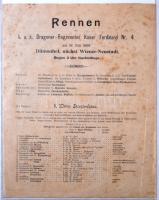 1896 Dilmonhof, A K.u.k. Dragoner-Regimentes kaiser Ferdinand Nr. 4 lóversenyhirdetménye a vesrsenyzők adataival, rendfokozatával, a lovak nevével / military horse race