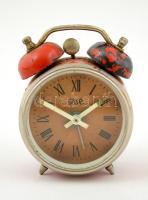 F.R. utazó ébresztő óra, működik, kopott, 8×6 cm