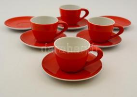 Zsolnay retró kávés csésze, 4 db, mázhibával + 6 db csészealj, 1 db sérült, jelzett