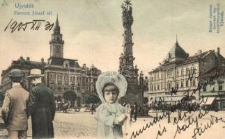 Újvidék, Novi Sad; Ferenc József tér, Mayer Imre üzlete, kiadja Herger Ágoston, gyerek, montázs / square, shop, child, montage (r)