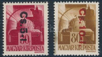 1946 Betűs Cs. 5-l./30f és Cs. 10-l./80f (16.000) (betapadás, foltok)