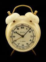 Slava ébresztő óra, működik, kopott, 10×7 cm