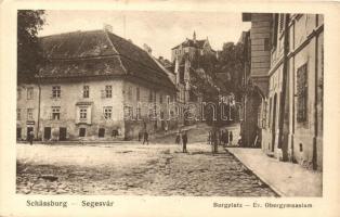 Segesvár, Sighisoara; Vártér, evangélikus gimnázium, kiadja E. Fischer / castle square, grammar school (EK)