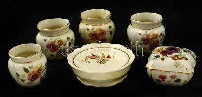 Zsolnay főleg pillangó mintás mini kaspók, tálka, doboz, kézzel festett, jelzett, hibátlan, m:6-7 cm, d: 10,5 cm, összesen:6 db