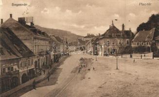 Segesvár, Sighisoara; Piac tér, villamos sínfektetés / square, tramway construction (Rb)