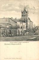 Nagyenyed, Aiud; Főtér, megyeház, Bisztrits Sándor üzlete / main square, county hall, shop (EK)