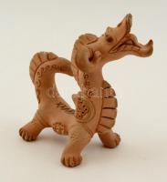 Jelzett agyag sárkány, apró kopással, h:15 cm, m:13 cm