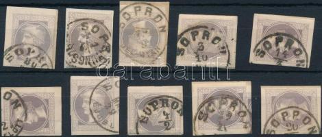 1867 10 db Hírlapbélyeg SOPRON bélyegzésekkel