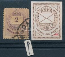 1881 Színesszámú 2kr jobb alsó háromszög vésetjavítással, ritka