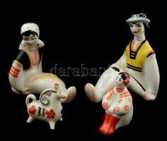 4 db jelzett szovjet figurális porcelán, kézzel festett, hibátlan, m:4-9 cm