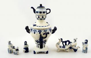 6 db jelzett szovjet porcelán tétel, kézzel festett, hibátlan, m:4-16 cm