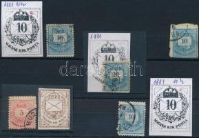 1881 Színesszámú 5kr, 4 x 10kr klf vésetjavításokkal, karcokkal