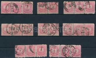 1881 Színesszámú 5kr összefüggésekben, 6 db 3-as csíkban és 2 db párban klf bélyegzésekkel, lemezhibákkal