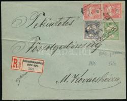 1908 Ajánlott levél Turul 1f, 5f és 10f pár bérmentesítéssel REFORMÁTUSKOVÁCSHÁZA postaügynökségi bélyegzéssel