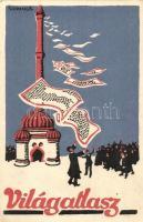 Világatlasz reklám, a képeslap hátoldalán megrendelőlap / Hungarian publishing house advertisement s: Szekeres (EK)