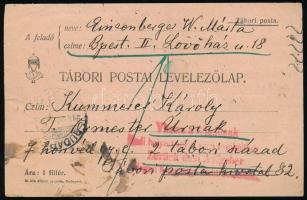 1915 Tábori posta levelezőlap Visszaküldve a feladónak / Hadi helyzet miatt nem továbbítható bélyegzéssel visszaküldve