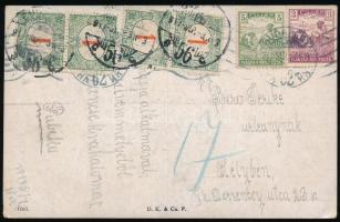 1917 Helyi képeslap Arató 3f és 5f bérmentesítéssel + Pirosszámú 4 x 1f portóval