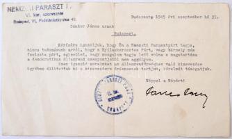 1945 Bp., A Nemzeti Parasztpárt által kiállított párttagsági igazolás igazolás államrendőrséghez való kinevezés okán