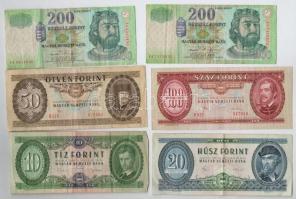 30db-os forint bankjegy tétel: 1962-1969. 10Ft (3x) + 1980. 20Ft (4x) + 1980-1983. 50Ft (6x) + 1960-1984. 100Ft (15x) + 2006. 200Ft (2x) T:III,III-