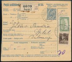 1919 Csomagszállító Parlament 80f és SHS 20f bérmentesítéssel, ritka!
