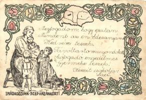 Imádkozzunk szép hazánkért! a Jász-Nagykun-Szolnok vármegyei Általános Tanítóegyesület kiadása / Hungarian irredenta postcard (fa)