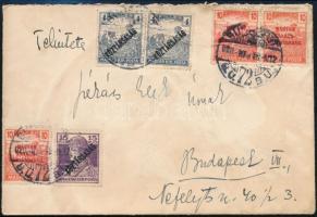 1920 Helyi levél Magyar Tanácsköztársaság 3 x 10f és Köztársaság 15f és 2 x 4f bérmentesítéssel