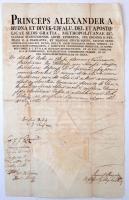 1821 Pest, Rudnay Sándor(1760-1831) esztergomi érsek fejléces papírjára írt házassági engedély, rajta Bélik József (1757-1847) püspök aláírásával, szárazpecséttel