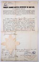 1853 Házassági engedély Scitovszky János hercegprímás aláírásával és szárazpecséttel