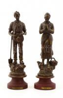 Francia spiáter imádkozó pár ( 2db), jelzett (Angelus), kopott, férfinak kis lyukkal a fején, fém talpazaton, m:30 cm (2×)