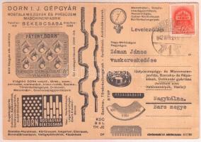 1942 Békéscsaba, A Dorn I.J. Gépgyár Rostalemezgyár és Présüzem reklámos levelezőlapja