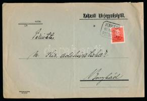 1934 Levél Arcképek 20f bérmentesítéssel KAKASD postaügynökségi bélyegzéssel Bonyhádra küldve