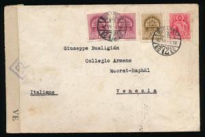 1942 Levél Templom (I.) 2 x 1f, 10f és 20f bérmentesítéssel BUDAPEST - Venezia olasz cenzúrával