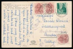 1943 Helyi képeslap Balatonzamárdira továbbküldve 3 x 2f portóval