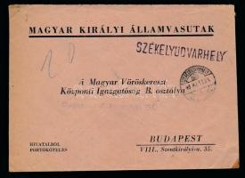 1943 Hivatalos levél SZÉKELYUDVARHELY vasúti bélyegzéssel
