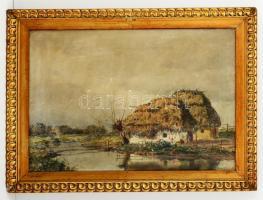 Diószeghy László (1877-1942): Kunyhók a pataknál. Olaj, vászon, antik keretben, 50×70 cm