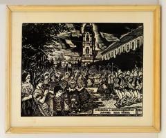 Palkó József (1919-2004): Menettánc Kalocsán. Fametszet, papír, jelzett, üvegezett keretben, 29×39 cm