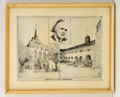 Kovács Imre (1944-): Legyen a zene mindenkié. Rézkarc, papír, jelzett, üvegezett keretben, 29×39 cm