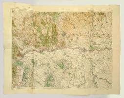 cca 1936 Duna Komárom-Esztergom megyei szakasza, katonai térkép, 1:75000. M. Kir. Honvéd Térképészeti Intézet, kissé foltos, 86x115 cm. /  cca 1936 The Danube section of Komárom-Esztergom county, military map, little bit spotty, 86x115 cm.