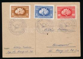 1949 UPU vágott sor levelezőlapon alkalmi bélyegzéssel
