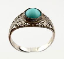 Ezüst(Ag) filigrán gyűrű türkiz berakással, jelzett, állítható mérettel, bruttó: 2,2 g