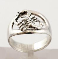 Ezüst(Ag) gyűrű rák díszítéssel, jelzett, méret: 59, nettó: 5,6 g
