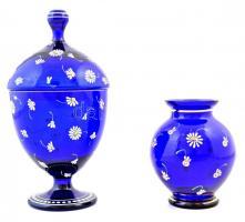Parádi kék virágmintás üveg cukortartó, minimális lepattanásokkal, kopásnyomokkal, m: 11 és 21 cm