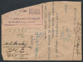 1941 Bűnjel boríték, mely eredetileg 2 db bolgár hamis bélyeget tartalmazott, Fejes Kálmán detektív aláírásával