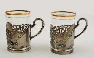 2 db szamovár teás fém pohár üvegbetéttel, hibátlanok, aranyozásnál apró kopásnyomokkal, m: 11 cm