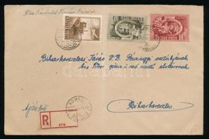 1952 Ajánlott levél Ötéves terv 40f, 60f és Repülő 1Ft bérmentesítéssel KOMÁDI - Biharkeresztes