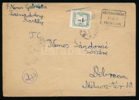 1957 Portós levél FÜZÉRRADÁNY postaügynökségi bélyegzéssel Debrecenbe küldve