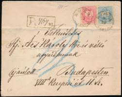 1885 Ajánlott levél Színesszámú 5kr, 10kr bérmentesítéssel KOKA - Budapest
