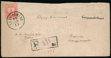 1887 Ajánlott levél Színesszámú 3 x 5kr bérmentesítéssel NAGY-IGMÁND - Boglár