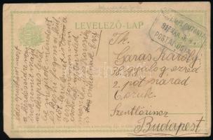 1915 5f díjjegyes levelezőlap KISTEMPLOMTANYA postaügynökségi bélyegzéssel Budapestre küldve
