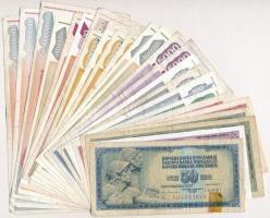 Jugoszlávia 1978-1993. 25db-os vegyes dinár bankjegy tétel T:III,III- ragasztás Yugoslavia 1978-1993. 25pcs of various dinaras C:F,VG sticked